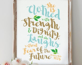 She is clothed in strength and dignity and laughs without fear of the future // scripture // christian gifts // gifts for her // sister