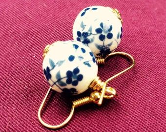 "Ceramic earrings blue ""Spring"""