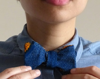 Bow tie wax flower - African fabric