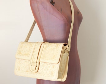 70s BOHO FLORES' BAGS Ivory leather tooled purse