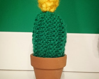 Hand knitted cactus pin cushion in terracotta pot earring holder cacti plant pincushion