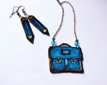 Back to school jewelry Student bag teacher's gift, teen blue gift unique necklace for nerd, fandom gift for her, writer jewelry pencil charm