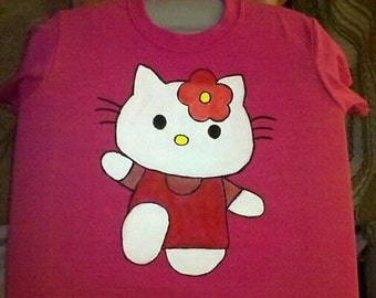 Hello Kitty style, youth small Tee Shirt, handpainted