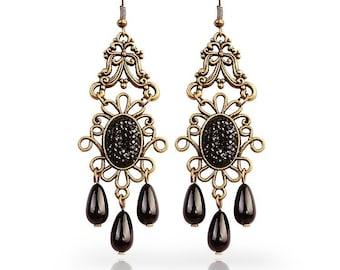 Earrings, vintage earrings, drop earrings, long earrings, pearl earrings, dangle earrings, gift for her, fabric earrings, gift, OE-41