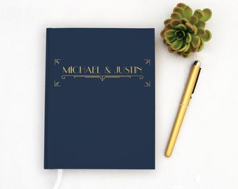 Wedding Guest Book Personalized Gold Guest Books Custom Guestbook Modern Wedding Gold Foil faux Art Deco Wedding - Navy