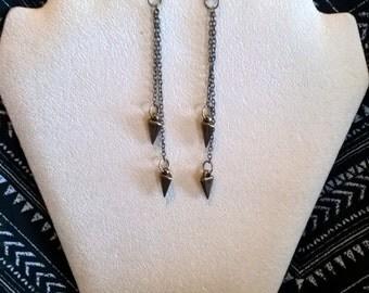 Tribal inspired antique gold spearhead dangle earrings