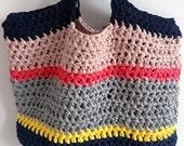 Crochet beach bag, shopper bag, tote bag, handmade, grey, yellow, pink, navy, spotty, recycled bag, ethical bag,