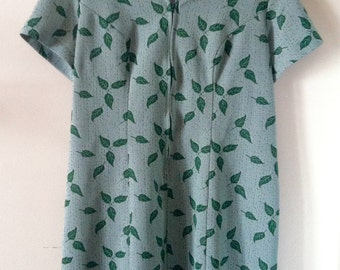 Vintage Green Dress Leaf Print XL-XXL