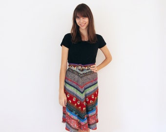 Vintage 1970's Patchwork Skirt with One-of-a-Kind Vintage Prints - Vintage Skirt - Vintage Patchwork