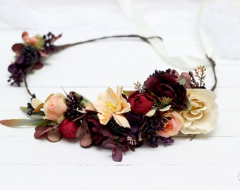 Fall flower crown Autumn wreath Fall weddings Flower halo Bridal floral crown Flower crown Flower hair wreath Floral crown