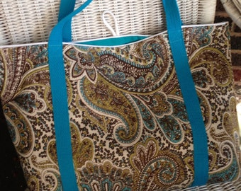 Paisley grocery tote
