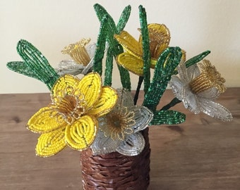Handmade, beautiful French beaded yellow and white daffodil flowers in the decorative basket