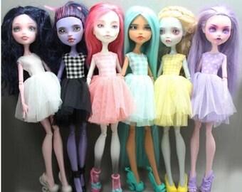 handmade Monster high doll puffy dress (6 colors)