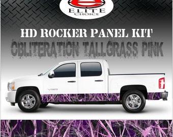 "Obliteration Tallgrass Pink Camo Rocker Panel Graphic Decal Wrap Truck SUV - 12"" x 24FT"