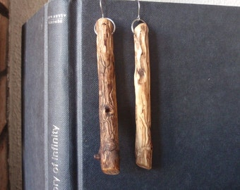 Worm track stick earrings Rustic Intricate Ornate Minimalist earrings Upcycled earrings Natural earrings Earthy earrings Woodland jewelry