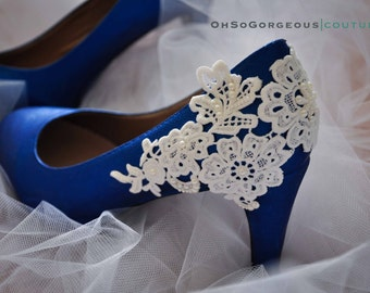 Royal blue wedding shoes Lace wedding shoes Lace applique pearl shoes Embellished shoes Something blue wedding shoes Royal blue bridal shoes