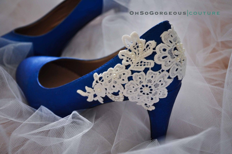 Royal Blue Wedding Shoes Lace Wedding By Gorgeousweddingshoes