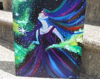 "Galaxy lady acrylic painting 11 x 14"""