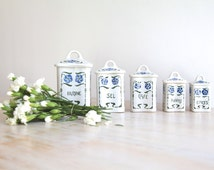 Vintage Kitchen Canisters, French Canisters, French Kitchen Canisters Flowers, French Kitchen Containers, Farmhouse Kitchen, Mother Gift