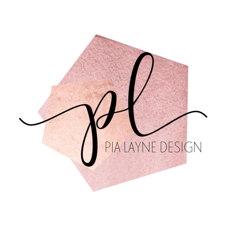 Rose Gold Pink Geometric Shape Pre Made Logo Calligraphy