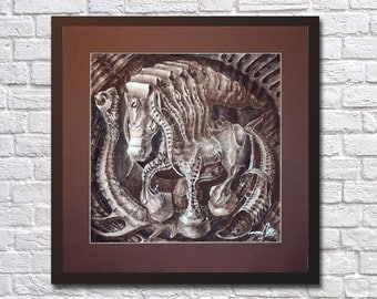 Horse, year of the horse, the biomechanical horse, symbol of the year horse