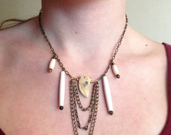 Brass and bone necklace