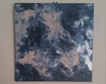Marble Effect Acrylic Painting - 30cm Square Smokey Blue, Blush & Metallic Silver