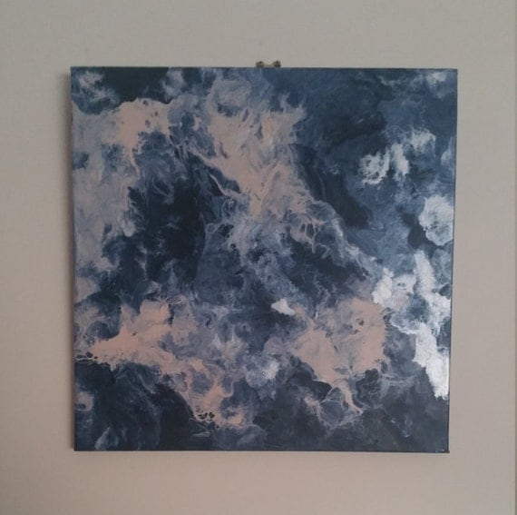 Marble effect acrylic painting 30cm square smokey blue for Acrylic paint effects