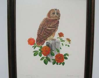 Owl Print, Titled, Signed Chester Gesemyer, Dated 1972, Vintage
