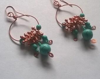 turquoise hoop dangle earrings