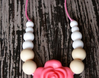 Baby Silicone Teething Necklace, Pink and Cream, Toddler Sensory Necklace, Flower Beads, Chew Beads, BPA free, Baby Shower Gift