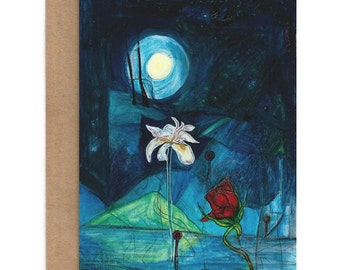 Nightscape Note Cards (Pack of 5 / any combo), Floral Blank Cards, Blank Card Set, Expressionist Cards, Art Cards, Greeting Cards