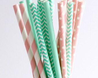 Paper Straw Mix, Pastel Pink Straws, Mint Straws - Garden Party, Baby Shower, Baby Shower, Bridal Shower, Drinking Straws, Decor Straws
