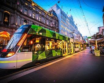 Melbourne photography fine art photograph city wallart urban decor Tram in Bourke Street Mall FREE SHIPPING within AUSTRALIA
