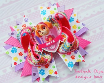 Skye Bow - Paw Patrol Bow - Skye Boutique Bow - Paw Patrol Party Favor-Hot Pink hair bow