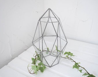 Glass Terrarium, Terrarium, Geometric Glass , Planter, Crystal Garden, Amethyst ,Quartz