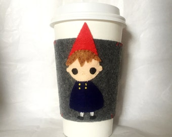 Wirt Over the Garden Wall Felt Coffee Cozy/ Felted Coffee Cozy/ Over the Garden Wall/ Cute Coffee Cozy/ Greg and Wirt