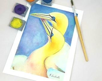 Original watercolor, birds in love, romantic gift idea for engagement, baby shower decoration, bedroom decore, nursery art, children room.