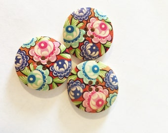 Extra Large Button - 25 mm Button - Pink Button - Blue Button - Purple Floral Button - Pink Flower Button - Scrapbook Button- Mixed Buttons