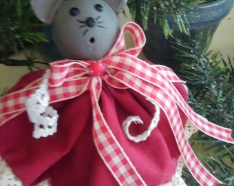 Country church mouse Christmas ornament.   Handmade and one of a kind.