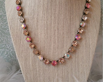 Swarovski Crystal necklace - PINK SURPRISE -  8.5  mm rose peach glacier blue, sand opal, silk and crystal ab.  beautiful!