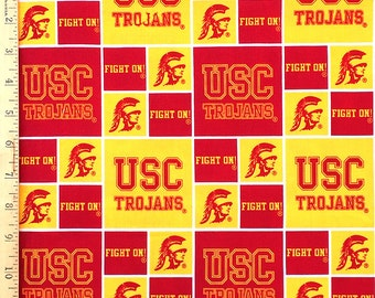 USC Fabic, USC Trojan Fabric, USC Trojan Fabric, 100% Cotton Fabric by the Yard