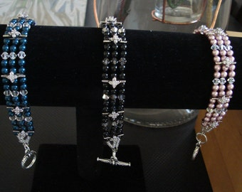 4mm Swarovski Pearls bracelet with floral separators