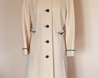 1970 Spring wool Coat Knee Length, Fitted, Ivory color Black piping all Season