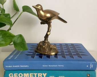 Vintage Brass Bird Perched on a Twig