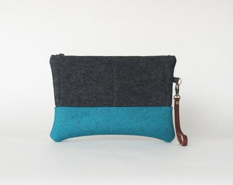 Wool Felt Clutch in Charcoal Gray and Cerulean Blue | Zipper Clutch | Felt Bag