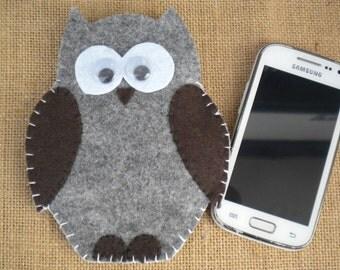 Phone case owl felt hand made cover universal smartphone iphone samsung portacellulare funda etui original gift gufo buho custom case