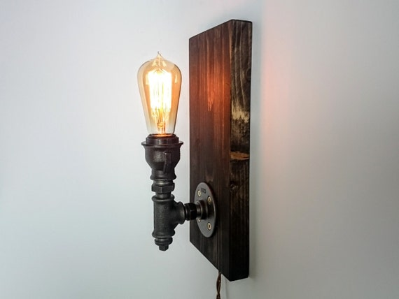 Plug in wall sconce on wooden base Wall lamp Industrial