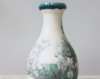 Turquoise porcelain vase | Bubble glaze vase
