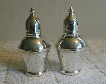 Sterling Weighted Salt and Pepper Shakers, Crown Top, Pat Pend, glass inside